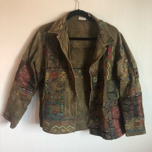 Army Green Embroidered Boho Jacket